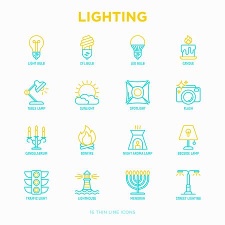 Lighting thin line icons set: bulb, LED, CFL, candle, table lamp, sunlight, spotlight, flash, candelabrum, bonfire, menorah, lighthouse, night aroma lamp. Modern vector illustration. Illustration