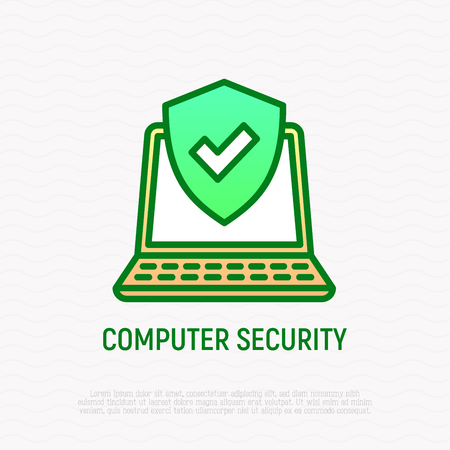 Computer security thin line icon: green shield on laptop screen. Modern vector illustration. Illustration