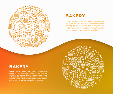 Bakery concept in circle with thin line icons: toast bread, pancakes, flour, croissant, donut, pretzel, cookies, gingerbread man, cupcake, burger. Modern vector illustration, print media template.