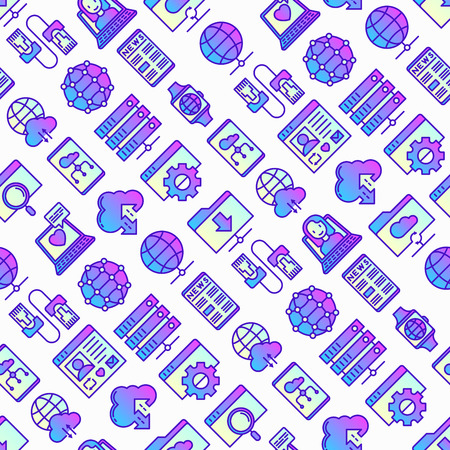 Information technology seamless pattern with thin line icons: social network, system backup, search, LAN network, connection, API, feedback, video call, cloud data. Modern vector illustration. Illustration
