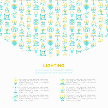 Lighting concept with thin line icons: bulb, LED, CFL, candle, table lamp, sunlight, spotlight, flash, candelabrum, bonfire, menorah, lighthouse. Modern vector illustration, print media template.