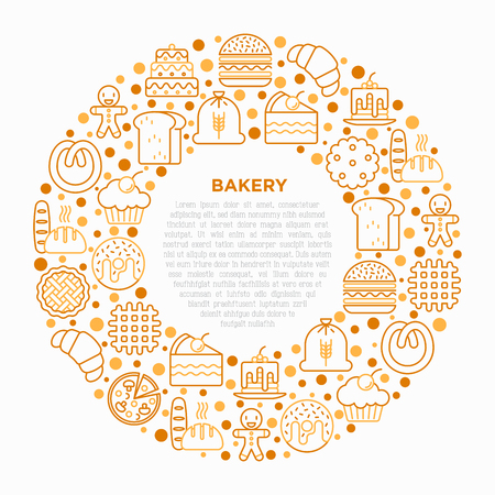 Bakery concept in circle with thin line icons: toast bread, pancakes, flour, croissant, donut, pretzel, cookies, gingerbread man, cupcake, burger, waffle. Vector illustration, print media template.
