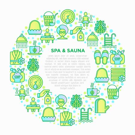 Concept de spa et sauna en cercle avec des icônes de ligne mince : huile de massage, serviettes, hammam, douche, savon, seau et louche, tisane, bouleau, fouet, soins de spa. Illustration vectorielle moderne. Vecteurs