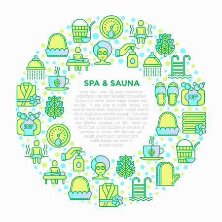 Spa & sauna concept in circle with thin line icons: massage oil, towels, steam room, shower, soap, pail and ladle, herbal tea, birch, whisk, spa treatments. Modern vector illustration. Standard-Bild - 124839198