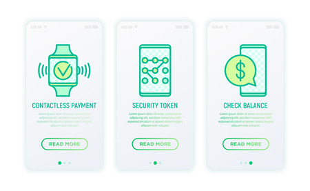 Online banking thin line icons: contactless payment, security token, check balance, online transaction. Modern vector illustration for user mobile app.