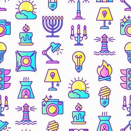 Lighting seamless pattern with thin line icons: bulb, LED, CFL, candle, table lamp, sunlight, spotlight, flash, candelabrum, bonfire, menorah, lighthouse, night aroma lamp. Modern vector illustration. 일러스트