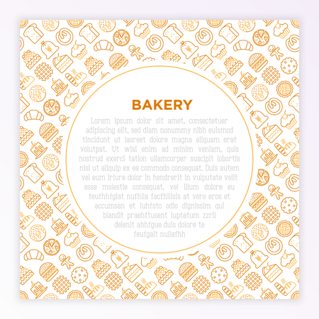 Bakery concept with thin line icons: toast bread, pancakes, flour, croissant, donut, pretzel, cookies, gingerbread man, cupcake, burger, apple pie, pizza. Vector illustration, print media template. 向量圖像