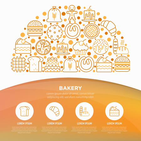 Bakery concept in half circle with thin line icons: toast bread, pancakes, flour, croissant, donut, pretzel, cookies, gingerbread man, cupcake, burger. Vector illustration, print media template.