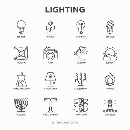 Lighting thin line icons set: bulb, LED, CFL, candle, table lamp, sunlight, spotlight, flash, candelabrum, bonfire, menorah, lighthouse, night aroma lamp. Modern vector illustration. Ilustración de vector