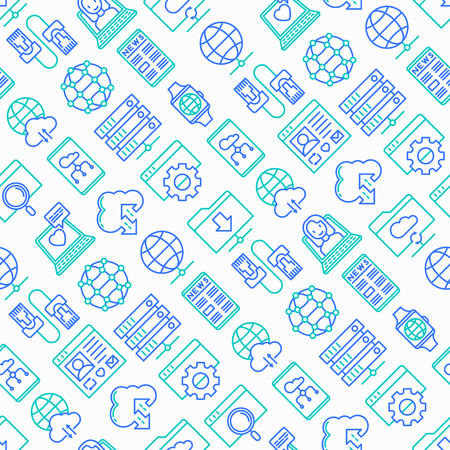 Information technology seamless pattern with thin line icons: social network, system backup, search, LAN network, connection, API, feedback, video call, online news. Modern vector illustration. Foto de archivo - 124529925