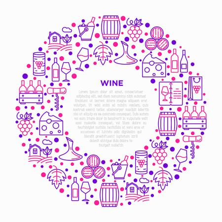 Concetto di vino in cerchio con icone di linea sottile: cavatappi, bicchiere da vino, sughero, uva, botte, lista, decanter, formaggio, vigneto, secchio, negozio, consegna. Illustrazione vettoriale moderna, modello di supporto di stampa. Vettoriali