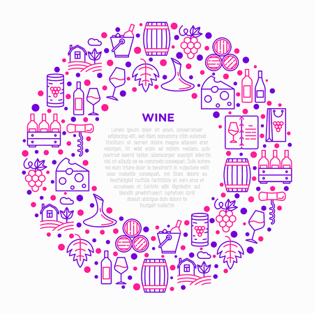 Wine concept in circle with thin line icons: corkscrew, wine glass, cork, grapes, barrel, list, decanter, cheese, vineyard, bucket, shop, delivery. Modern vector illustration, print media template. Ilustração Vetorial