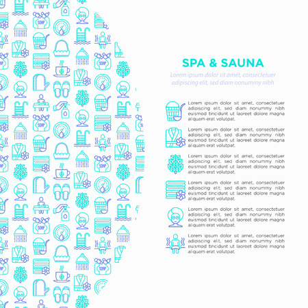 Spa & sauna concept with thin line icons: massage oil, towels, steam room, shower, soap, pail and ladle, hygrometer, birch, whisk, spa treatment, facial mask. Vector illustration, print media template