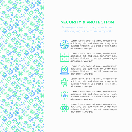 Security and protection concept with thin line icons: mobile security, fingerprint, badge, firewall, face ID, secure folder, surveillance camera, keyset, shredder. Vector illustration.