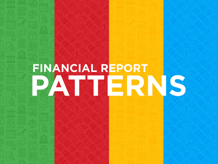 Four different financial report seamless patterns with thin line icons: bank, financial analytics, calculate, signature, email, presentation, bank check, audit, calendar. Modern vector illustration. Foto de archivo - 124426850