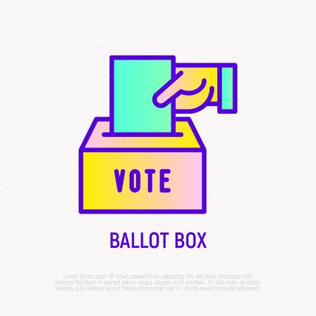 Urne : la main met l'enveloppe avec le vote dans la boîte. Icône de fine ligne. Illustration vectorielle moderne. Vecteurs