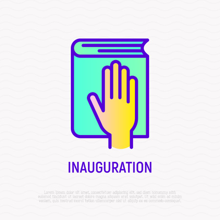 Hand on constitution thin line icon, oath on inauguration. Modern vector illustration. Foto de archivo - 124339498