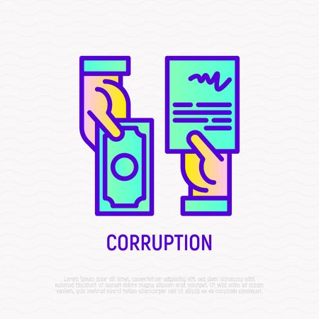 Corruption thin line icon: agreement in exchange of money. Modern vector illustration. Foto de archivo - 124339499