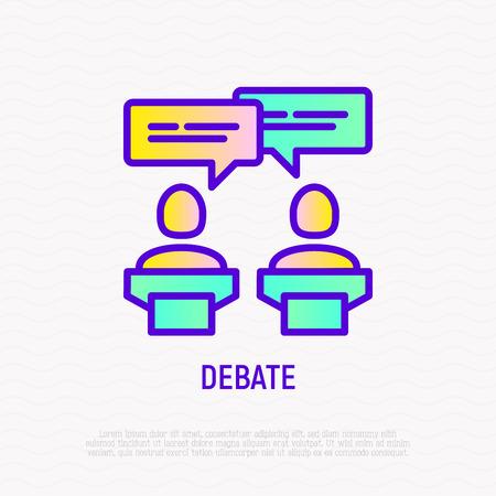 Debate thin line icon: two candidates are discussing politics. Modern vector illustration. Foto de archivo - 124339500