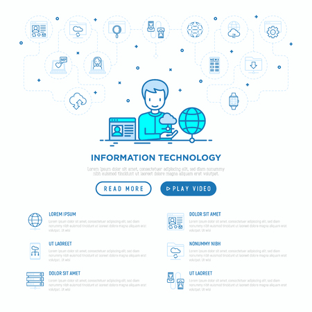 Information technology concept: man using cloud service. Thin line icons: social network, search, feedback, video call, downloads, cloud data. Vector illustration, web page template. Foto de archivo - 124339501
