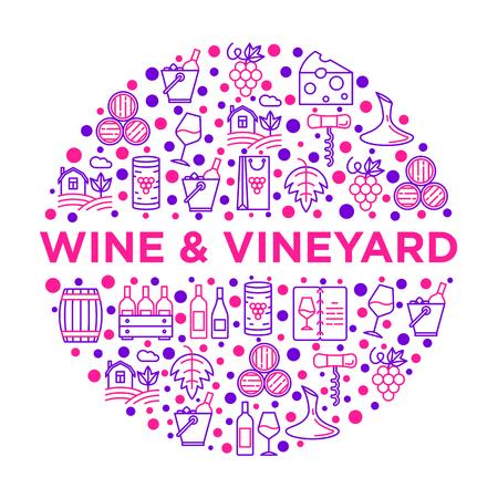Concetto di vino in cerchio con icone di linea sottile: cavatappi, bicchiere da vino, sughero, uva, botte, lista, decanter, formaggio, vigneto, secchio, negozio, consegna. Illustrazione vettoriale moderna, modello di supporto di stampa.