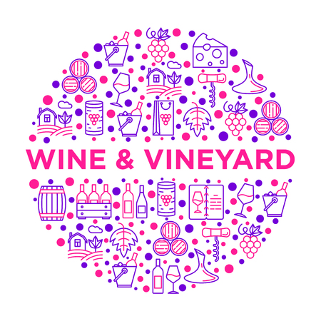Wine concept in circle with thin line icons: corkscrew, wine glass, cork, grapes, barrel, list, decanter, cheese, vineyard, bucket, shop, delivery. Modern vector illustration, print media template.