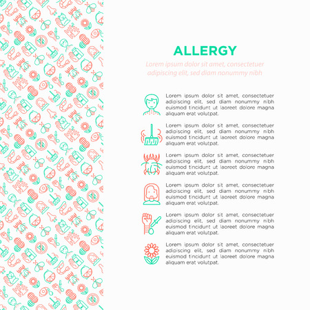 Allergy concept with thin line icons: runny nose, dust, streaming eyes, lactose intolerance, citrus, seafood, gluten free, dust mite, flower, mold, peanut, allergy test, edema. Vector illustration. Foto de archivo - 124281760