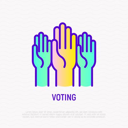 Voting: raised hands thin line icon. Modern vector illustration.