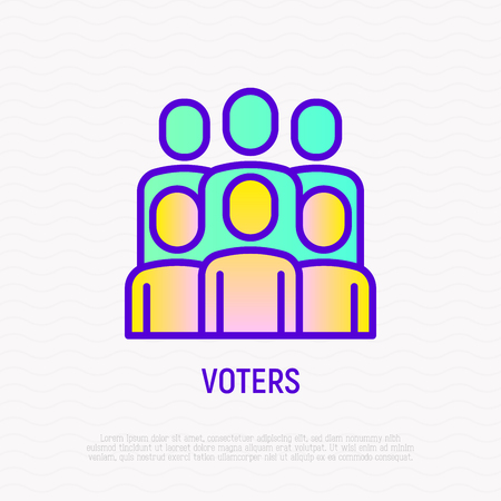 Voters: group of people thin line icon. Modern vector illustration. Foto de archivo - 124281762