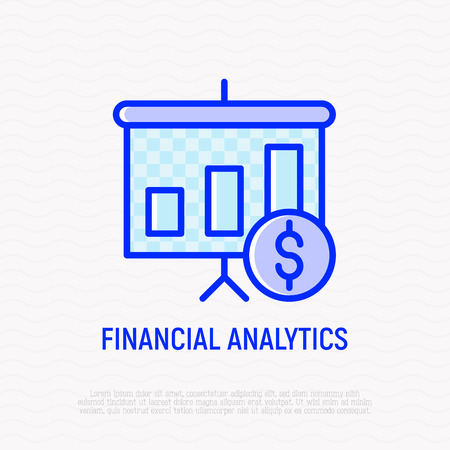 Financial analytics thin line icon: graph of profit growth. Modern vector illustration. Foto de archivo - 124281766
