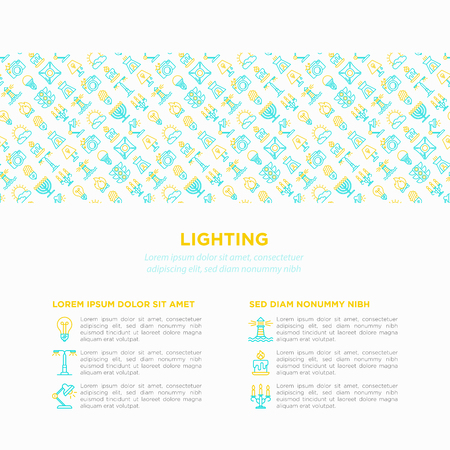 Lighting concept with thin line icons: bulb, LED, CFL, candle, table lamp, sunlight, spotlight, flash, candelabrum, bonfire, menorah, lighthouse. Modern vector illustration, print media template. Foto de archivo - 124281768