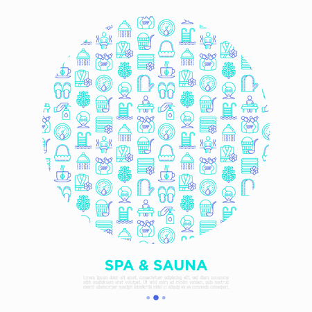 Spa & sauna concept in circle with thin line icons: massage oil, towels, steam room, shower, soap, pail and ladle, hygrometer, herbal tea, birch, whisk. Vector illustration, print media template.