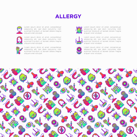 Allergy concept with thin line icons: runny nose, dust, streaming eyes, lactose intolerance, citrus, seafood, gluten free, dust mite, flower, mold, edema. Vector illustration, print media template. Vector Illustration