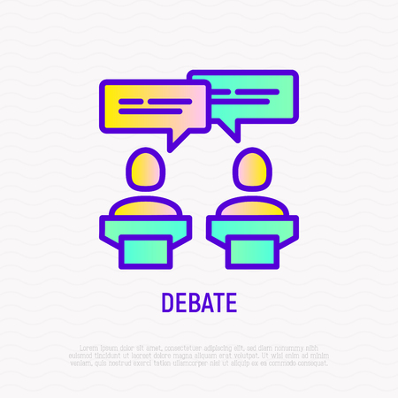 Debate thin line icon: two candidates are discussing politics. Modern vector illustration. Ilustracja