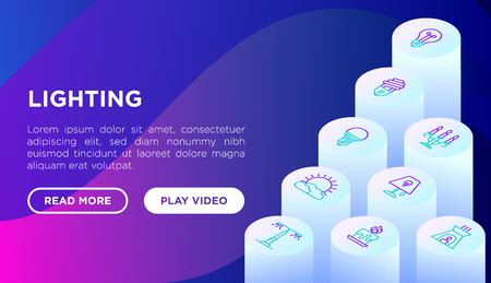 Lighting concept with isometric thin line icons: bulb, LED, CFL, candle, table lamp, sunlight, spotlight, flash, candelabrum, bonfire, menorah. Modern vector illustration, web page template.