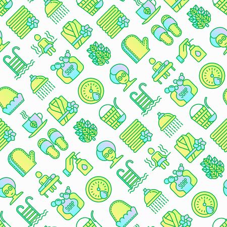 Modèle sans couture de spa et sauna avec des icônes de ligne mince : huile de massage, serviettes, hammam, douche, savon, seau et louche, hygromètre, piscine, tisane, bouleau, fouet. Illustration vectorielle moderne. Vecteurs