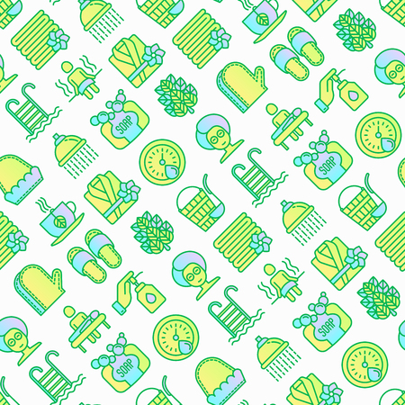 Spa & sauna seamless pattern with thin line icons: massage oil, towels, steam room, shower, soap, pail and ladle, hygrometer, swimming pool, herbal tea, birch, whisk. Modern vector illustration. Foto de archivo - 124206084