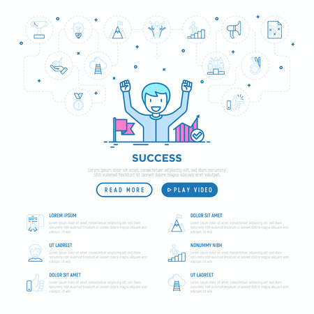 Success concept: smiling man with hands raised has achieved career growth. Vector illustration, web page template. Vectores