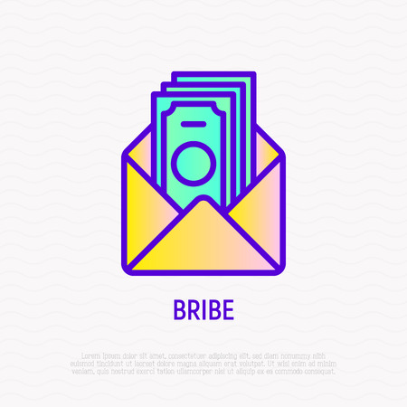 Bribe thin line icon: money in opened envelope. Modern vector illustration.