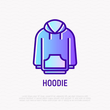 Hoodie thin line icon. Modern vector illustration of sweatshirt, sportswear. Archivio Fotografico - 124150160