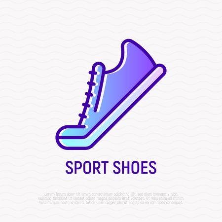 Sport shoes thin line icon. Modern vector illustration of sneakers.