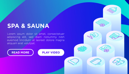 Spa & sauna concept with thin line isometric icons: massage oil, towels, shower, soap, pail and ladle, herbal tea, birch, whisk. Vector illustration, web page template on gradient background.