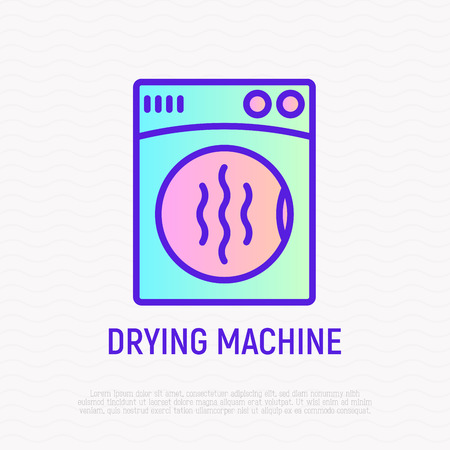 Drying machine thin line icon. Modern vector illustration of appliance, symbol of laundry. 向量圖像
