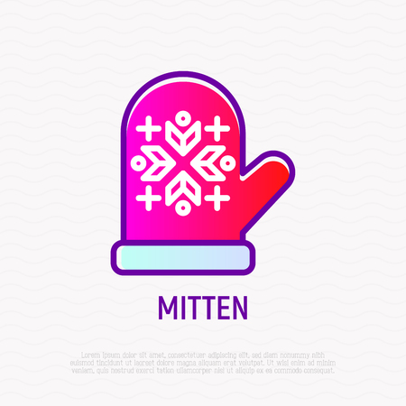 Mitten with ornament thin line icon. Modern vector illustration.
