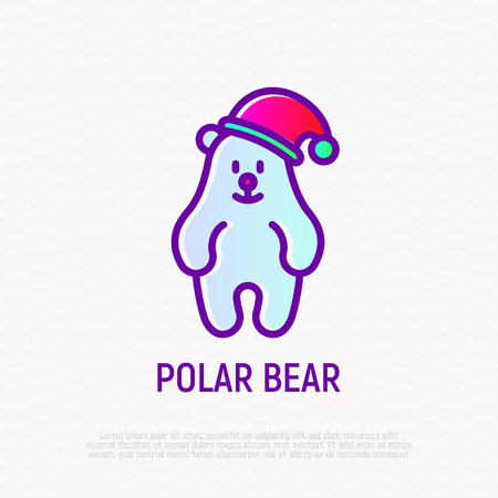 Funny polar bear in Christmas hat thin line icon. Modern vector illustration.