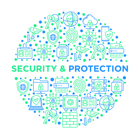 Security and protection concept in circle with thin line icons: mobile security, fingerprint, badge, firewall, face ID, secure folder, surveillance camera, encrypted messaging. Vector illustration.