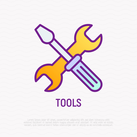 Tools: crossed wrench and screwdriver thin line icon. Modern vector illustration.