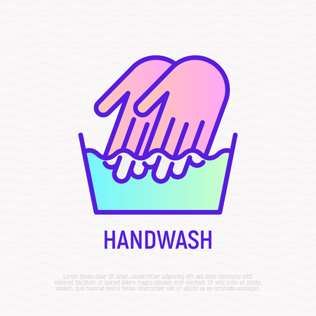 Handwash symbol: two hands in wash bowl. Thin line icon. Modern vector illustration. Illustration