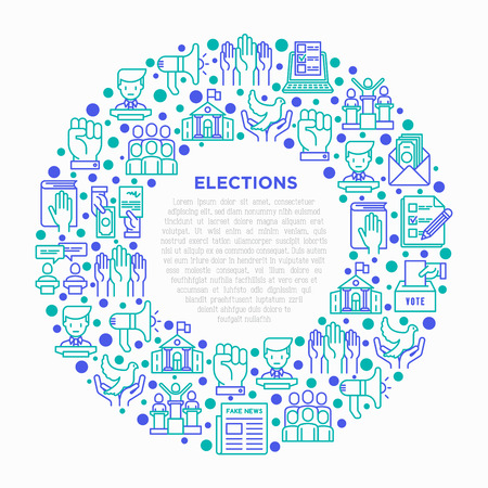 Election and voting concept in circle with thin line icons: voters, ballot box, inauguration, corruption, debate, president, propaganda, bribe, agitation. Vector illustration, print media template.