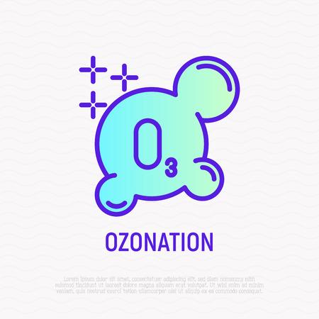 Icona di linea sottile di ozonizzazione. Illustrazione vettoriale moderna di indumenti di pulizia aggiuntivi. Vettoriali